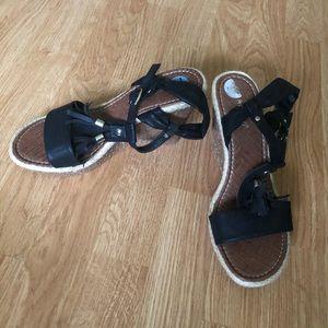 Strappy Black Wedge Sandals